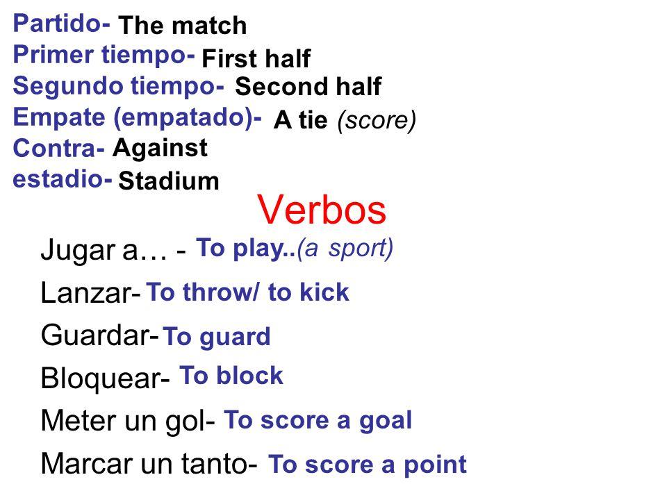 Verbos Jugar a… - Lanzar- Guardar- Bloquear- Meter un gol- Marcar un tanto- Partido- Primer tiempo- Segundo tiempo- Empate (empatado)- Contra- estadio