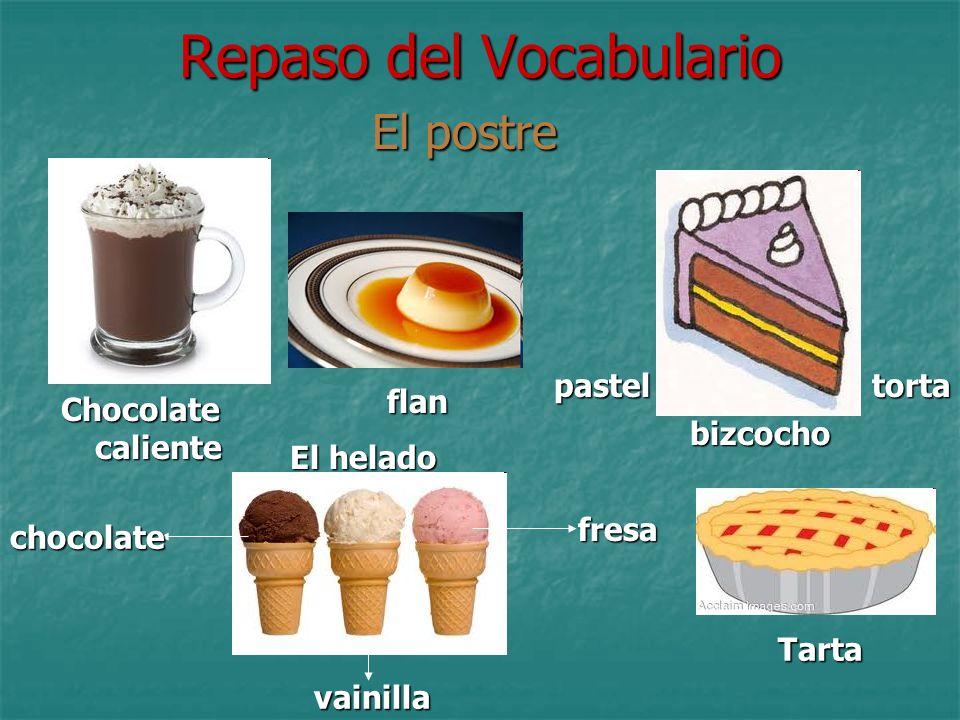 Repaso del Vocabulario El postre Chocolate caliente flan flan pastel bizcocho torta El helado chocolate vainilla fresa Tarta