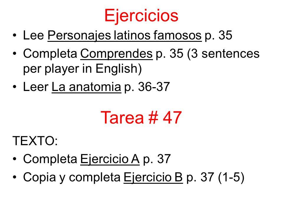 Ejercicios Lee Personajes latinos famosos p. 35 Completa Comprendes p.