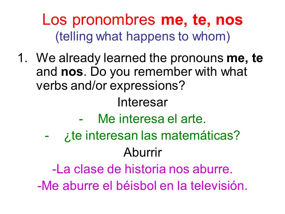 Los pronombres me, te, nos (telling what happens to whom) 1.We already learned the pronouns me, te and nos.