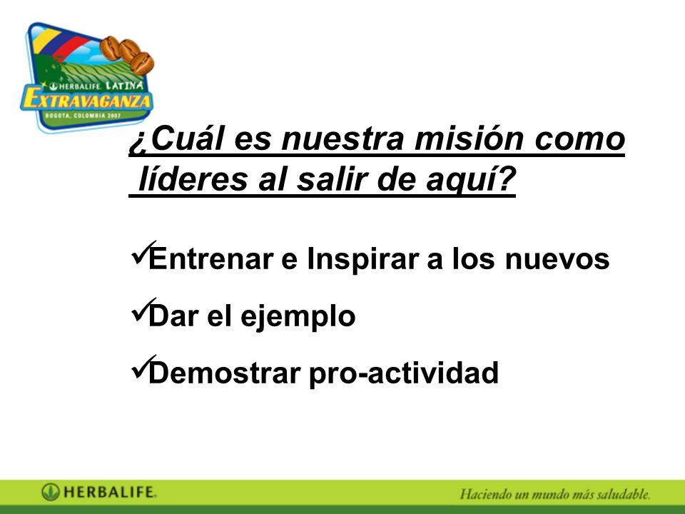 ¿Cuál es nuestra misión como líderes al salir de aquí? Entrenar e Inspirar a los nuevos Dar el ejemplo Demostrar pro-actividad