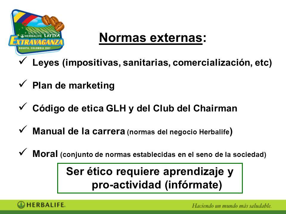 Leyes (impositivas, sanitarias, comercialización, etc) Plan de marketing Código de etica GLH y del Club del Chairman Manual de la carrera (normas del