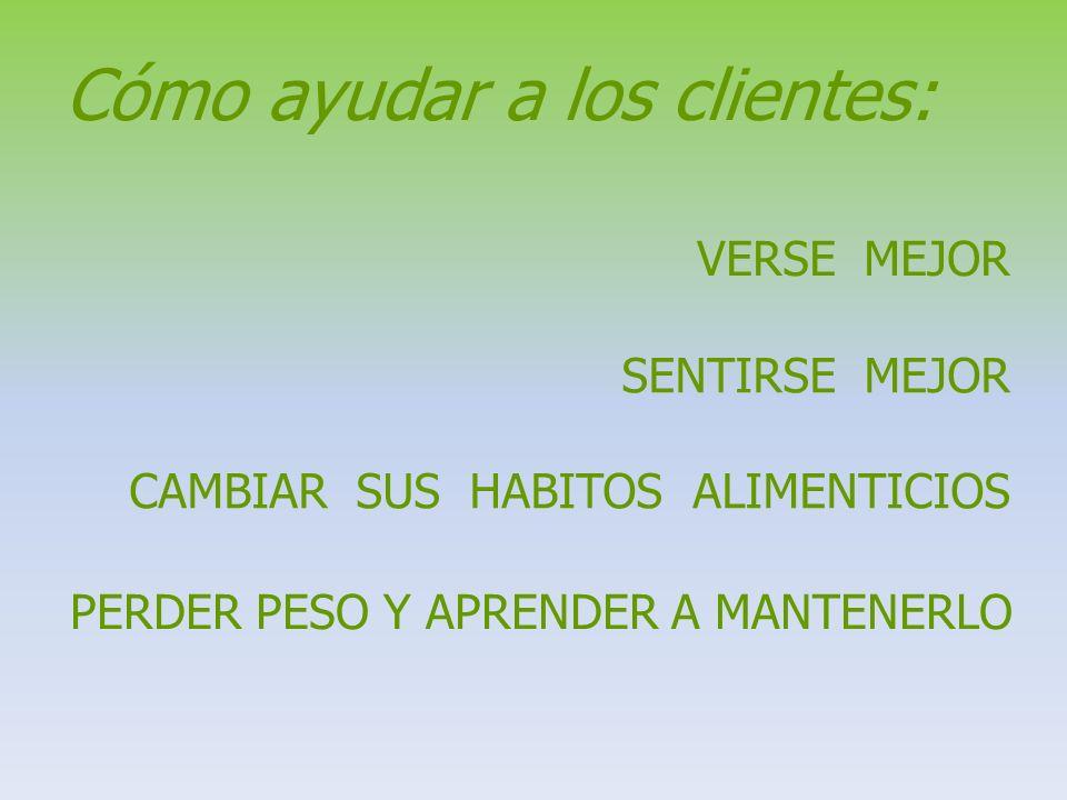 Cómo ayudar a los clientes: VERSE MEJOR SENTIRSE MEJOR CAMBIAR SUS HABITOS ALIMENTICIOS PERDER PESO Y APRENDER A MANTENERLO
