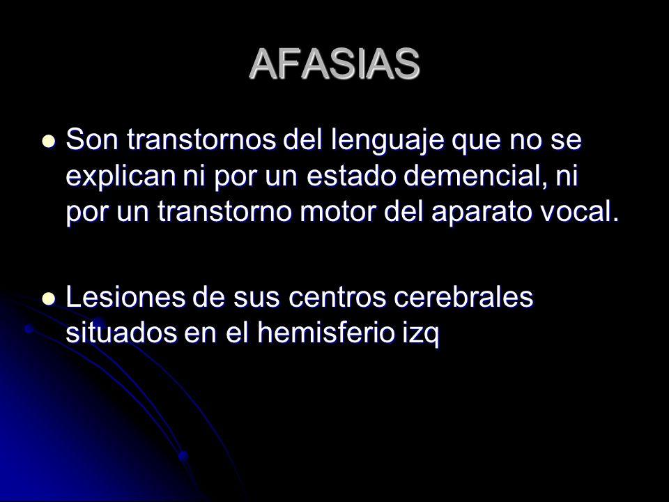 AFASIAS Son transtornos del lenguaje que no se explican ni por un estado demencial, ni por un transtorno motor del aparato vocal. Son transtornos del