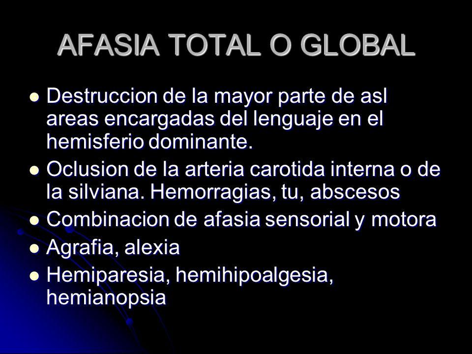 AFASIA TOTAL O GLOBAL Destruccion de la mayor parte de asl areas encargadas del lenguaje en el hemisferio dominante. Destruccion de la mayor parte de