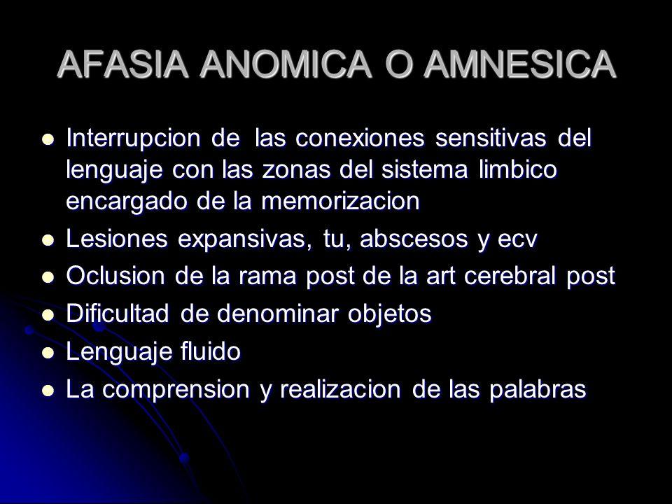 AFASIA ANOMICA O AMNESICA Interrupcion de las conexiones sensitivas del lenguaje con las zonas del sistema limbico encargado de la memorizacion Interr
