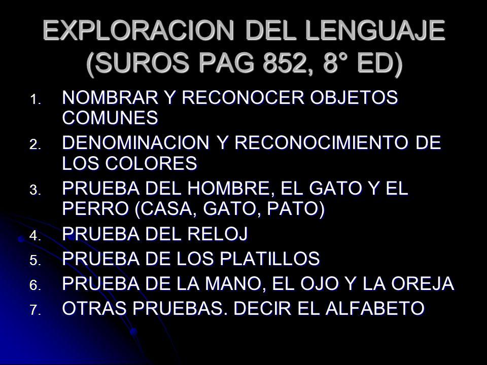 EXPLORACION DEL LENGUAJE (SUROS PAG 852, 8° ED) 1. NOMBRAR Y RECONOCER OBJETOS COMUNES 2. DENOMINACION Y RECONOCIMIENTO DE LOS COLORES 3. PRUEBA DEL H