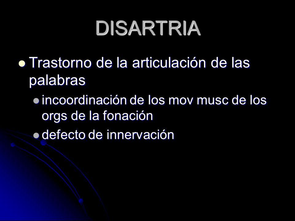 DISARTRIA Trastorno de la articulación de las palabras Trastorno de la articulación de las palabras incoordinación de los mov musc de los orgs de la f