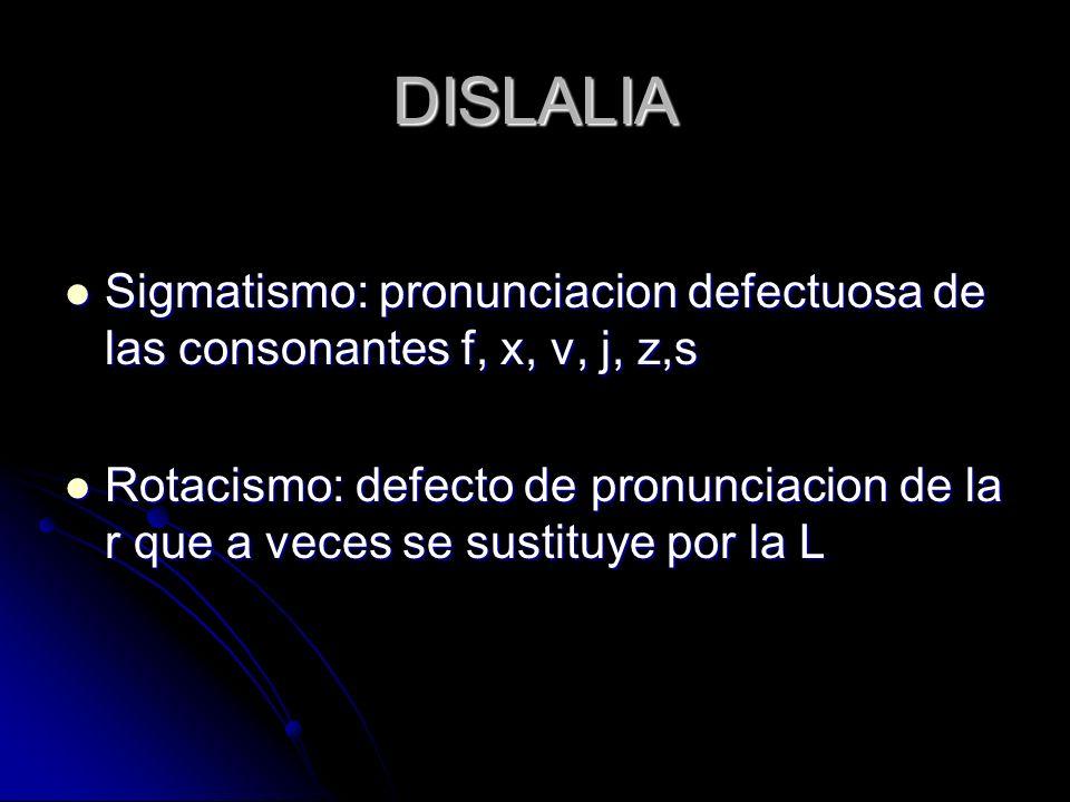 DISLALIA Sigmatismo: pronunciacion defectuosa de las consonantes f, x, v, j, z,s Sigmatismo: pronunciacion defectuosa de las consonantes f, x, v, j, z