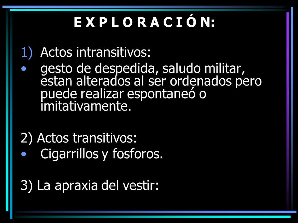 E X P L O R A C I Ó N: 1)Actos intransitivos: gesto de despedida, saludo militar, estan alterados al ser ordenados pero puede realizar espontaneó o im