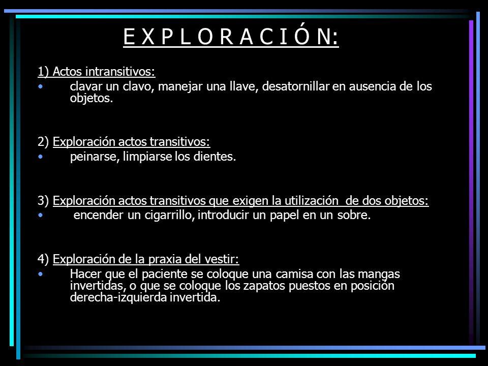 E X P L O R A C I Ó N: 1) Actos intransitivos: clavar un clavo, manejar una llave, desatornillar en ausencia de los objetos. 2) Exploración actos tran