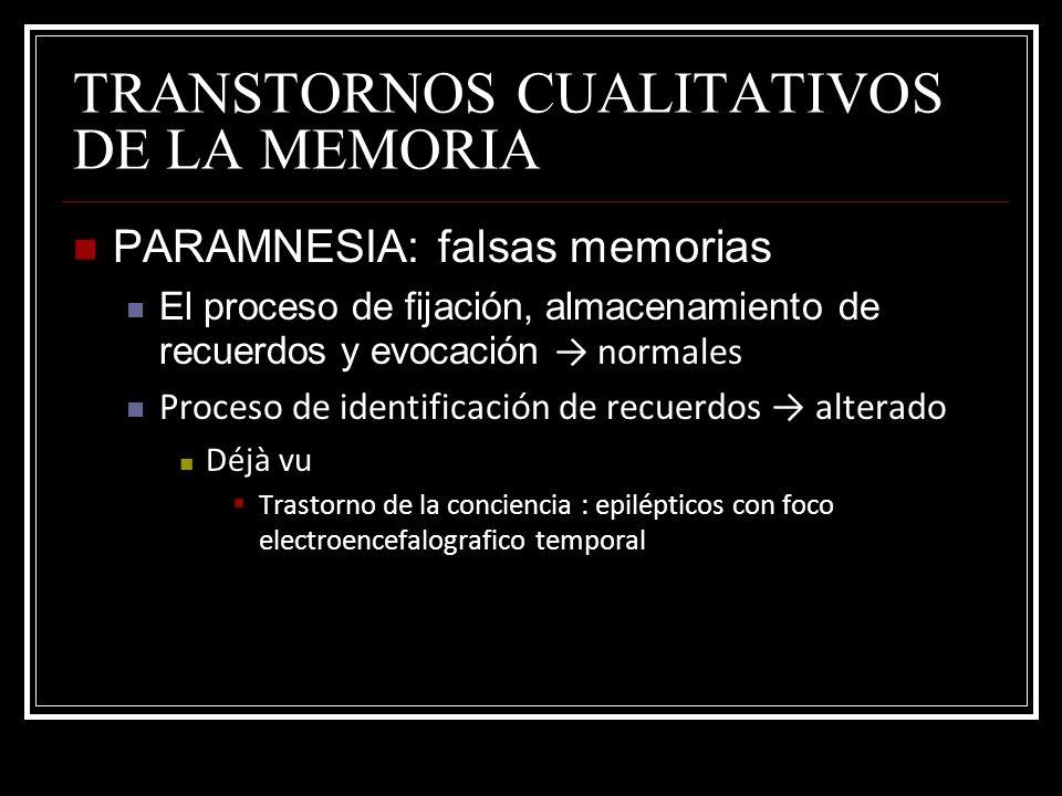 TRANSTORNOS CUALITATIVOS DE LA MEMORIA PARAMNESIA: falsas memorias El proceso de fijación, almacenamiento de recuerdos y evocación normales Proceso de