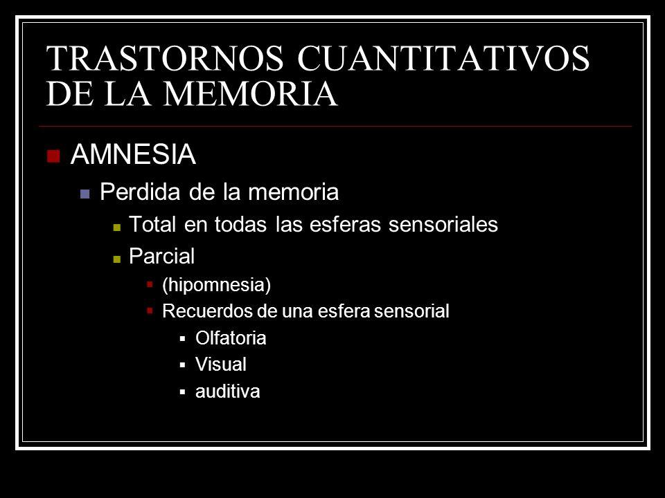 TRASTORNOS CUANTITATIVOS DE LA MEMORIA AMNESIA Perdida de la memoria Total en todas las esferas sensoriales Parcial (hipomnesia) Recuerdos de una esfe