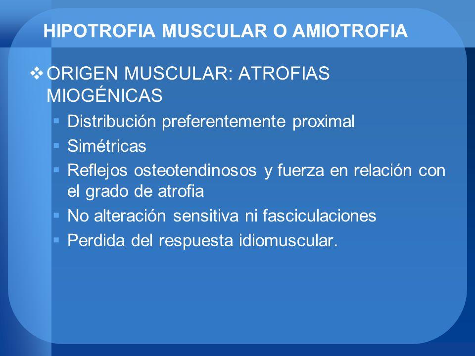 HIPOTROFIA MUSCULAR O AMIOTROFIA ORIGEN MUSCULAR: ATROFIAS MIOGÉNICAS Distribución preferentemente proximal Simétricas Reflejos osteotendinosos y fuer