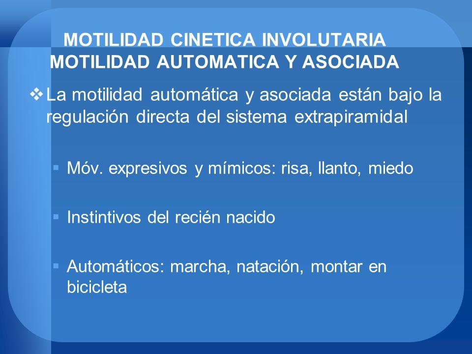 MOTILIDAD CINETICA INVOLUTARIA MOTILIDAD AUTOMATICA Y ASOCIADA La motilidad automática y asociada están bajo la regulación directa del sistema extrapi