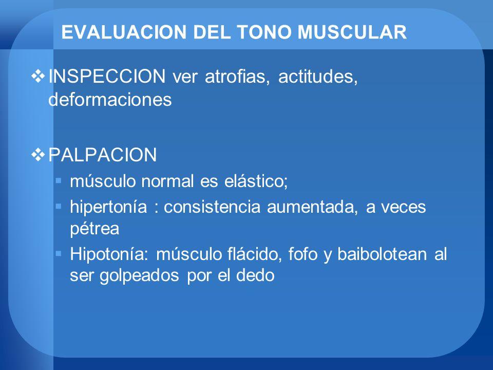 EVALUACION DEL TONO MUSCULAR INSPECCION ver atrofias, actitudes, deformaciones PALPACION músculo normal es elástico; hipertonía : consistencia aumenta