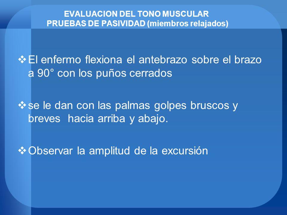 EVALUACION DEL TONO MUSCULAR PRUEBAS DE PASIVIDAD (miembros relajados) El enfermo flexiona el antebrazo sobre el brazo a 90° con los puños cerrados se