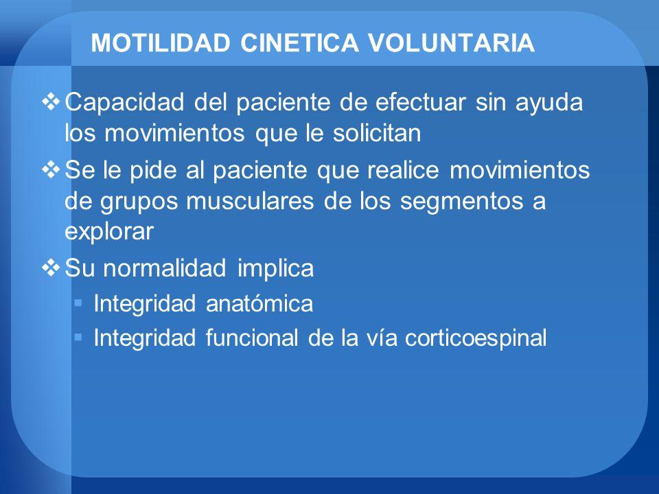 MOTILIDAD CINETICA VOLUNTARIA Capacidad del paciente de efectuar sin ayuda los movimientos que le solicitan Se le pide al paciente que realice movimie