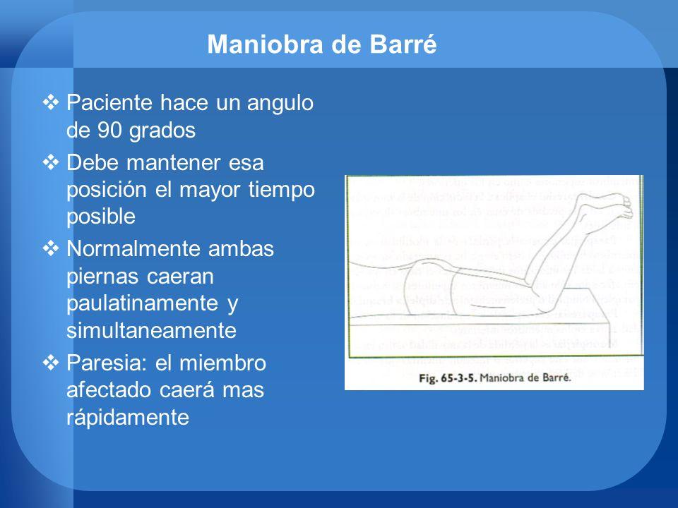 Maniobra de Barré Paciente hace un angulo de 90 grados Debe mantener esa posición el mayor tiempo posible Normalmente ambas piernas caeran paulatiname