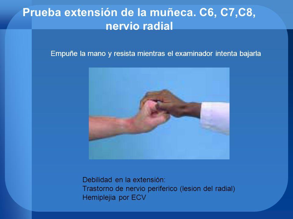 Prueba extensión de la muñeca. C6, C7,C8, nervio radial Empuñe la mano y resista mientras el examinador intenta bajarla Debilidad en la extensión: Tra