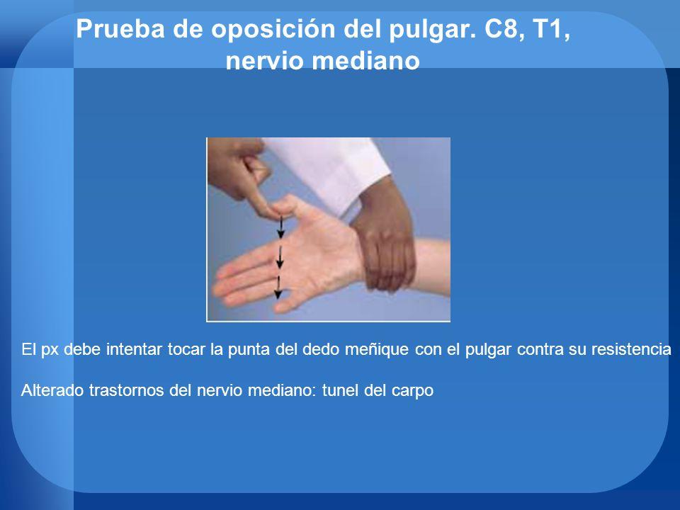 Prueba de oposición del pulgar. C8, T1, nervio mediano El px debe intentar tocar la punta del dedo meñique con el pulgar contra su resistencia Alterad