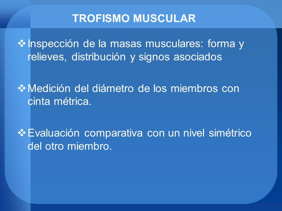 TROFISMO MUSCULAR Inspección de la masas musculares: forma y relieves, distribución y signos asociados Medición del diámetro de los miembros con cinta