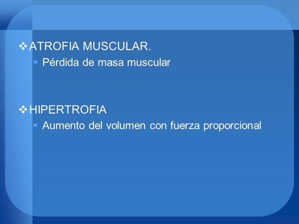 ATROFIA MUSCULAR. Pérdida de masa muscular HIPERTROFIA Aumento del volumen con fuerza proporcional