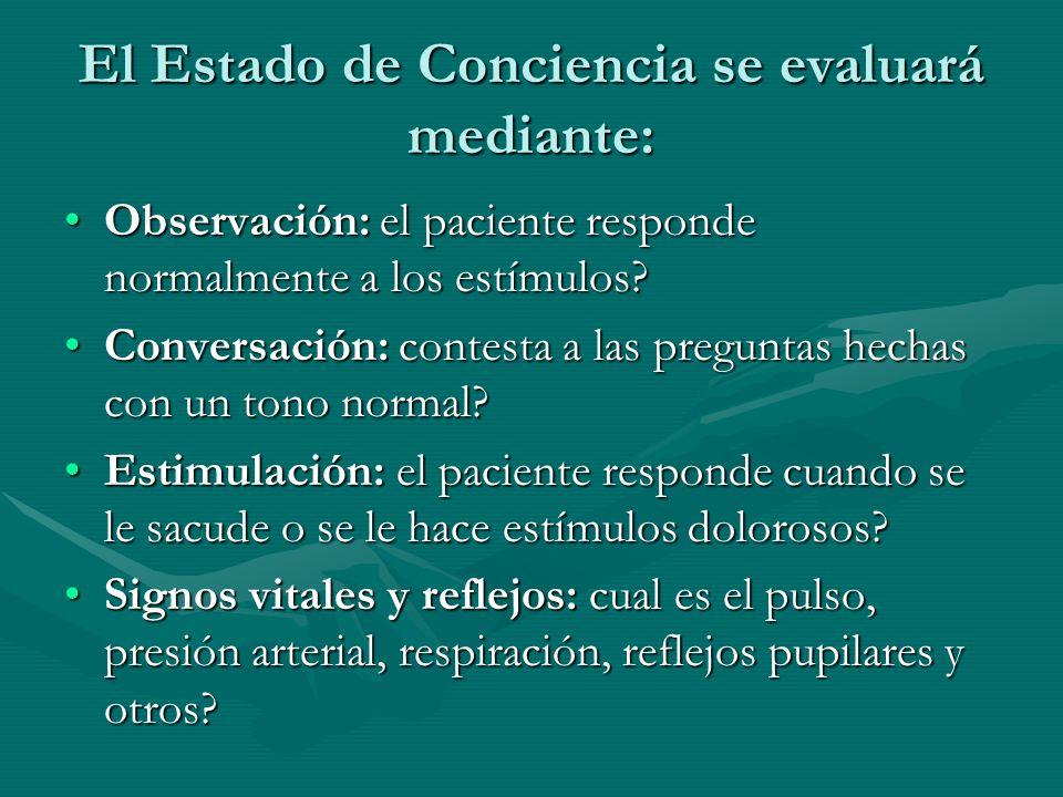 El Estado de Conciencia se evaluará mediante: Observación: el paciente responde normalmente a los estímulos?Observación: el paciente responde normalme