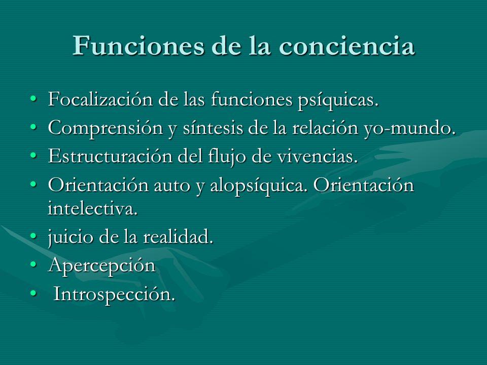 Funciones de la conciencia Focalización de las funciones psíquicas.Focalización de las funciones psíquicas. Comprensión y síntesis de la relación yo-m