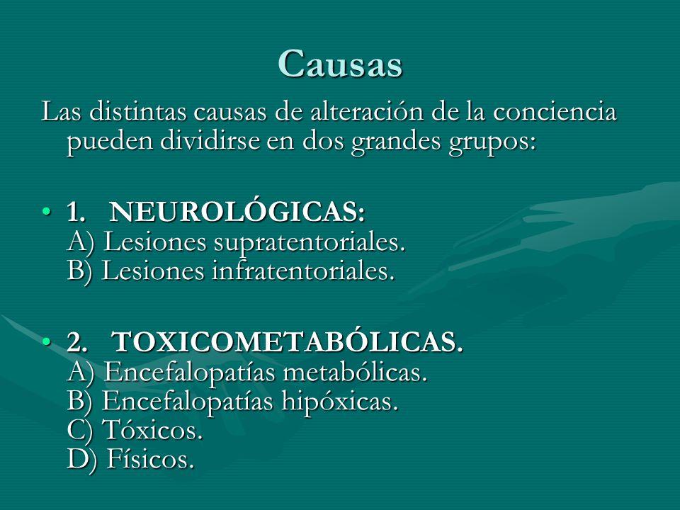 Causas Las distintas causas de alteración de la conciencia pueden dividirse en dos grandes grupos: 1. NEUROLÓGICAS: A) Lesiones supratentoriales. B) L
