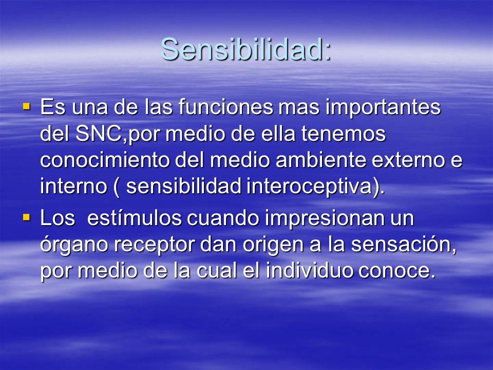 Sensibilidad: Es una de las funciones mas importantes del SNC,por medio de ella tenemos conocimiento del medio ambiente externo e interno ( sensibilid