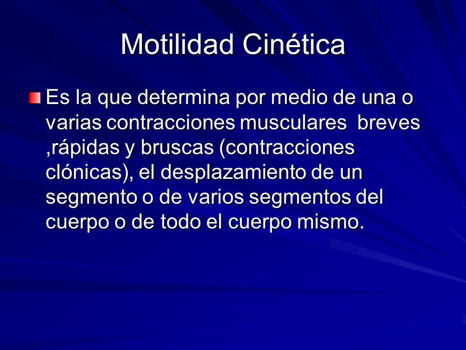 Motilidad Cinética Es la que determina por medio de una o varias contracciones musculares breves,rápidas y bruscas (contracciones clónicas), el despla