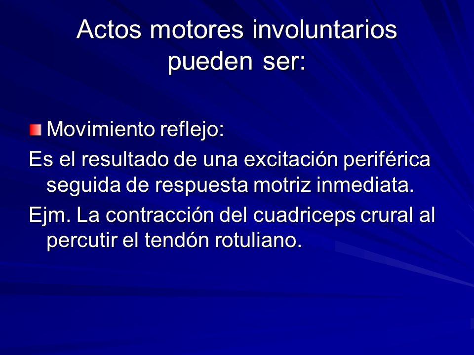 Actos motores involuntarios pueden ser: Movimiento reflejo: Es el resultado de una excitación periférica seguida de respuesta motriz inmediata. Ejm. L