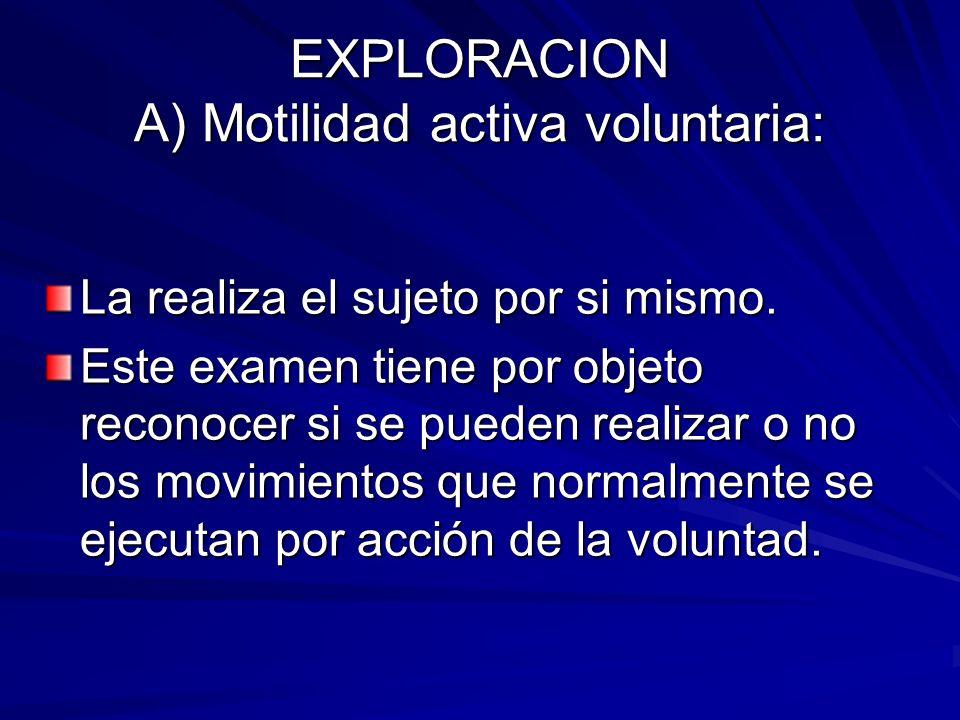EXPLORACION A) Motilidad activa voluntaria: La realiza el sujeto por si mismo. Este examen tiene por objeto reconocer si se pueden realizar o no los m