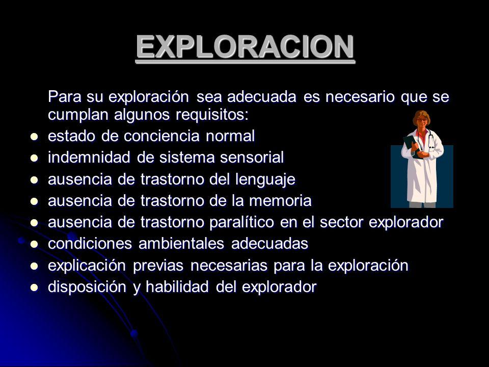 EXPLORACION Para su exploración sea adecuada es necesario que se cumplan algunos requisitos: estado de conciencia normal estado de conciencia normal i