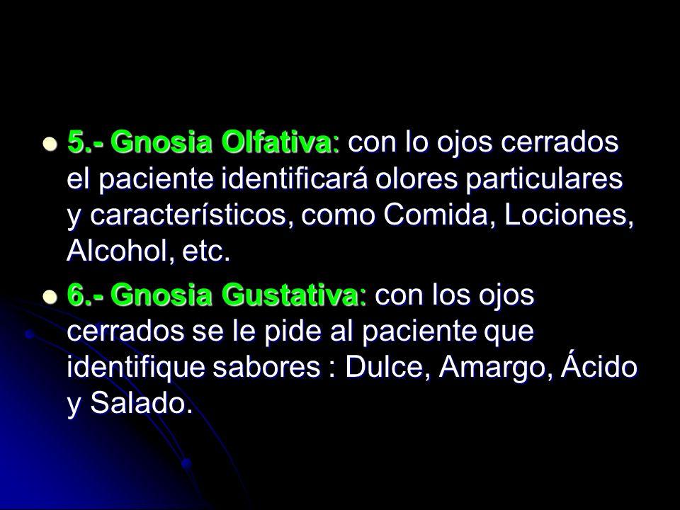 5.- Gnosia Olfativa: con lo ojos cerrados el paciente identificará olores particulares y característicos, como Comida, Lociones, Alcohol, etc. 5.- Gno
