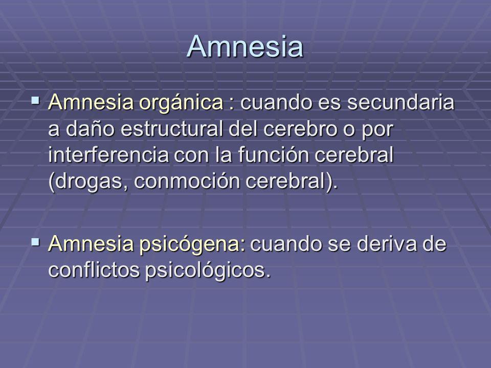 Amnesia orgánica : cuando es secundaria a daño estructural del cerebro o por interferencia con la función cerebral (drogas, conmoción cerebral). Amnes