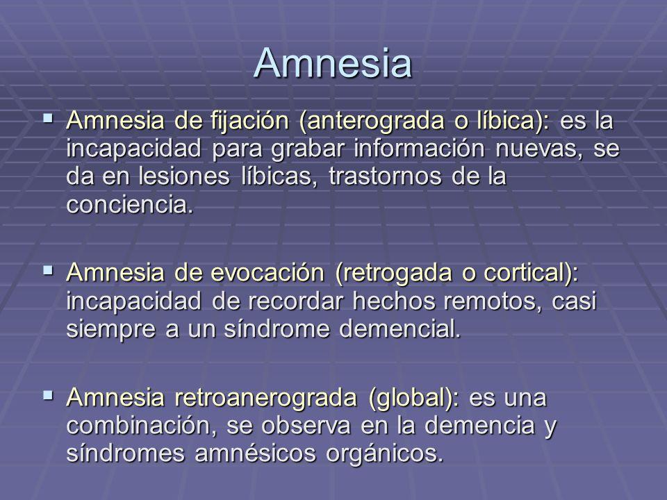 Amnesia Amnesia de fijación (anterograda o líbica): es la incapacidad para grabar información nuevas, se da en lesiones líbicas, trastornos de la conc