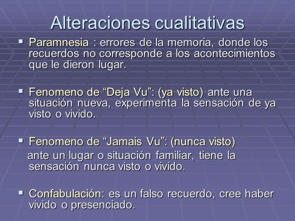 Alteraciones cualitativas Paramnesia : errores de la memoria, donde los recuerdos no corresponde a los acontecimientos que le dieron lugar. Paramnesia