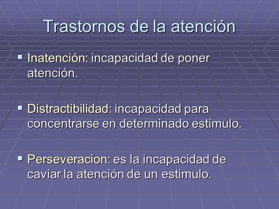 Trastornos de la atención Inatención: incapacidad de poner atención. Inatención: incapacidad de poner atención. Distractibilidad: incapacidad para con