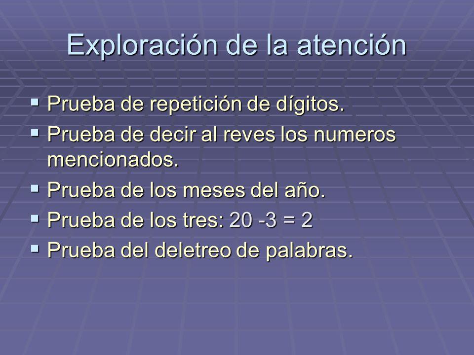 Exploración de la atención Prueba de repetición de dígitos. Prueba de repetición de dígitos. Prueba de decir al reves los numeros mencionados. Prueba