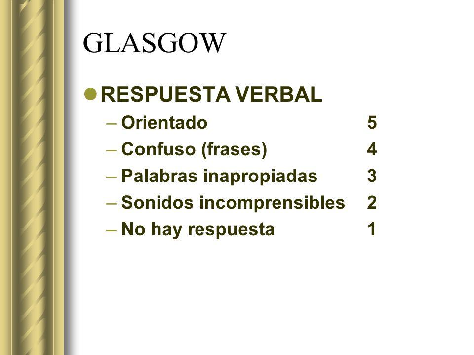 GLASGOW RESPUESTA VERBAL –Orientado 5 –Confuso (frases)4 –Palabras inapropiadas3 –Sonidos incomprensibles2 –No hay respuesta1