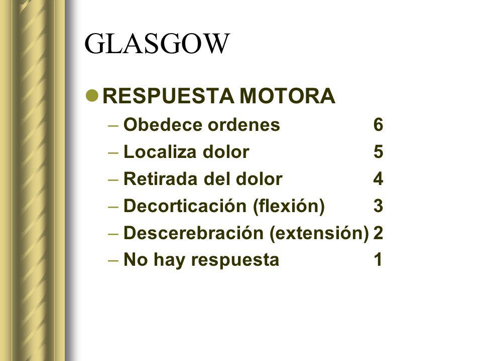 GLASGOW RESPUESTA MOTORA –Obedece ordenes6 –Localiza dolor5 –Retirada del dolor4 –Decorticación (flexión)3 –Descerebración (extensión)2 –No hay respue