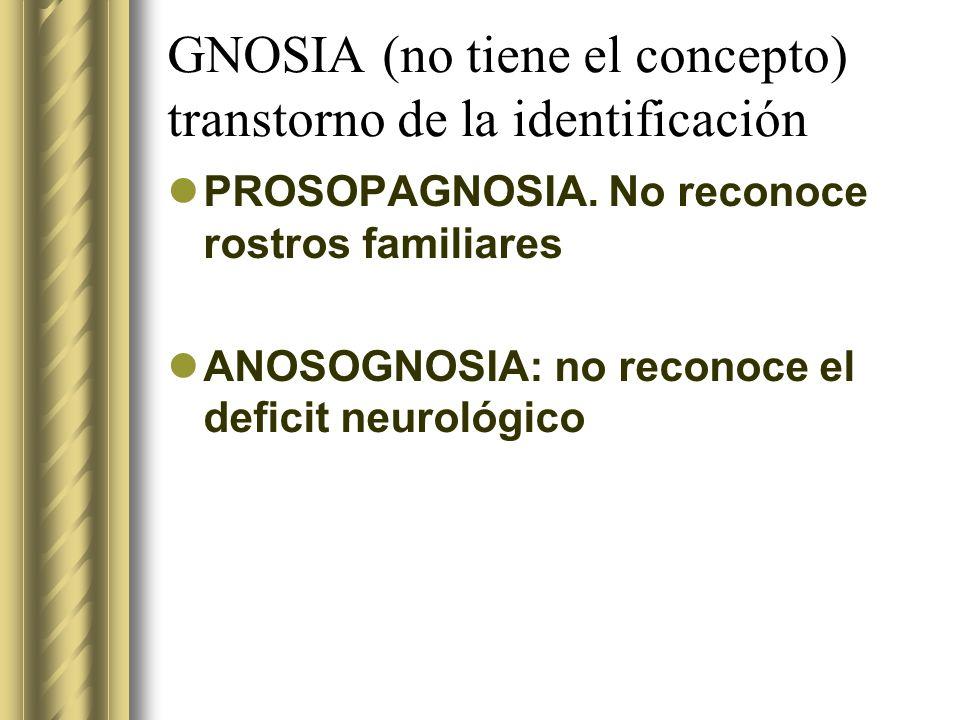 GNOSIA (no tiene el concepto) transtorno de la identificación PROSOPAGNOSIA. No reconoce rostros familiares ANOSOGNOSIA: no reconoce el deficit neurol