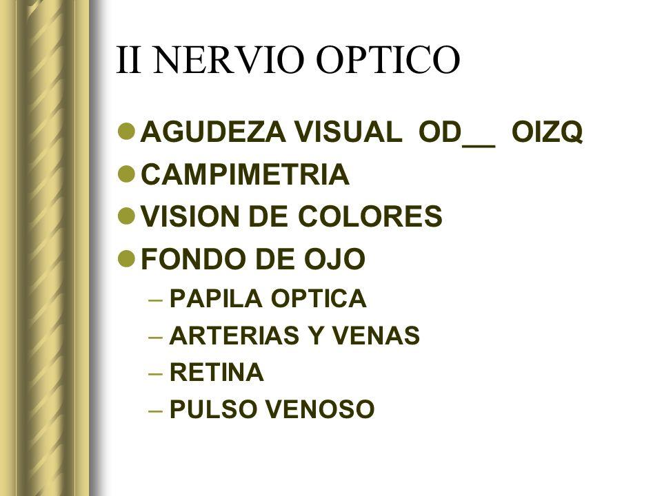 II NERVIO OPTICO AGUDEZA VISUAL OD__ OIZQ CAMPIMETRIA VISION DE COLORES FONDO DE OJO –PAPILA OPTICA –ARTERIAS Y VENAS –RETINA –PULSO VENOSO