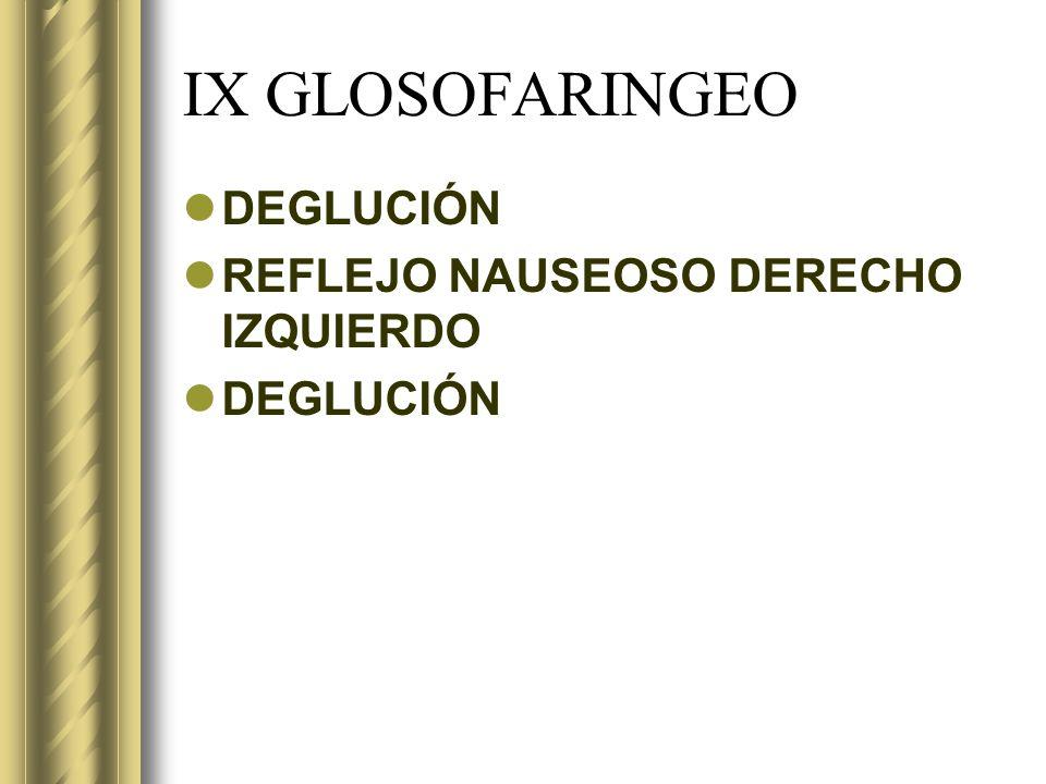 IX GLOSOFARINGEO DEGLUCIÓN REFLEJO NAUSEOSO DERECHO IZQUIERDO DEGLUCIÓN