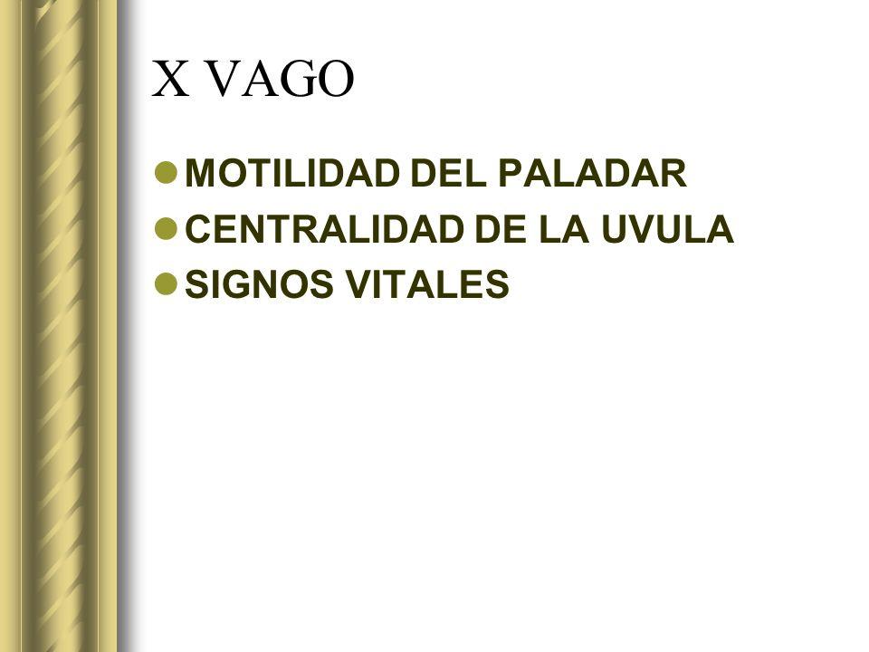 X VAGO MOTILIDAD DEL PALADAR CENTRALIDAD DE LA UVULA SIGNOS VITALES