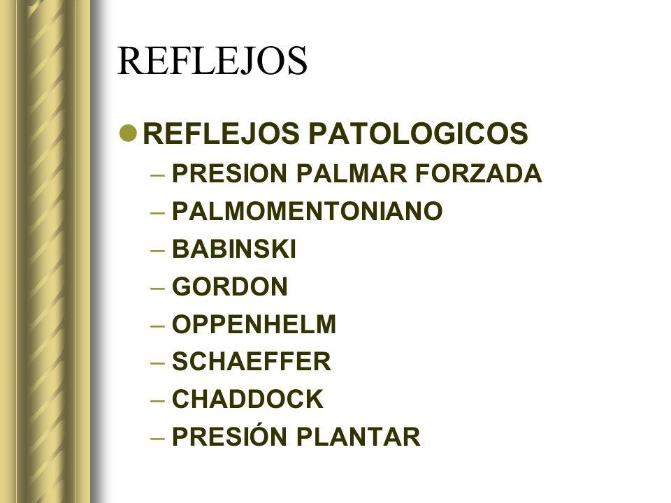REFLEJOS REFLEJOS PATOLOGICOS –PRESION PALMAR FORZADA –PALMOMENTONIANO –BABINSKI –GORDON –OPPENHELM –SCHAEFFER –CHADDOCK –PRESIÓN PLANTAR