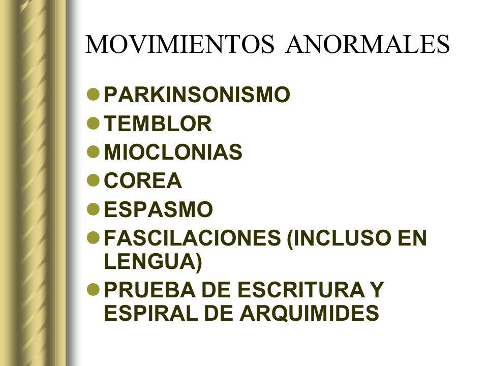 MOVIMIENTOS ANORMALES PARKINSONISMO TEMBLOR MIOCLONIAS COREA ESPASMO FASCILACIONES (INCLUSO EN LENGUA) PRUEBA DE ESCRITURA Y ESPIRAL DE ARQUIMIDES