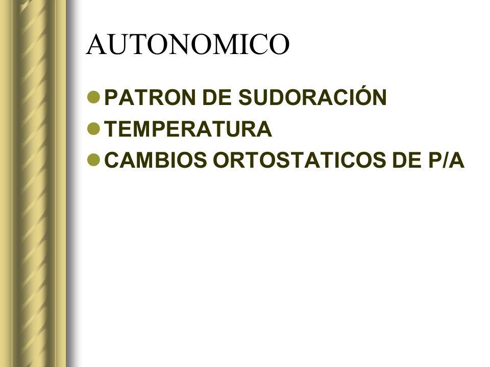 AUTONOMICO PATRON DE SUDORACIÓN TEMPERATURA CAMBIOS ORTOSTATICOS DE P/A